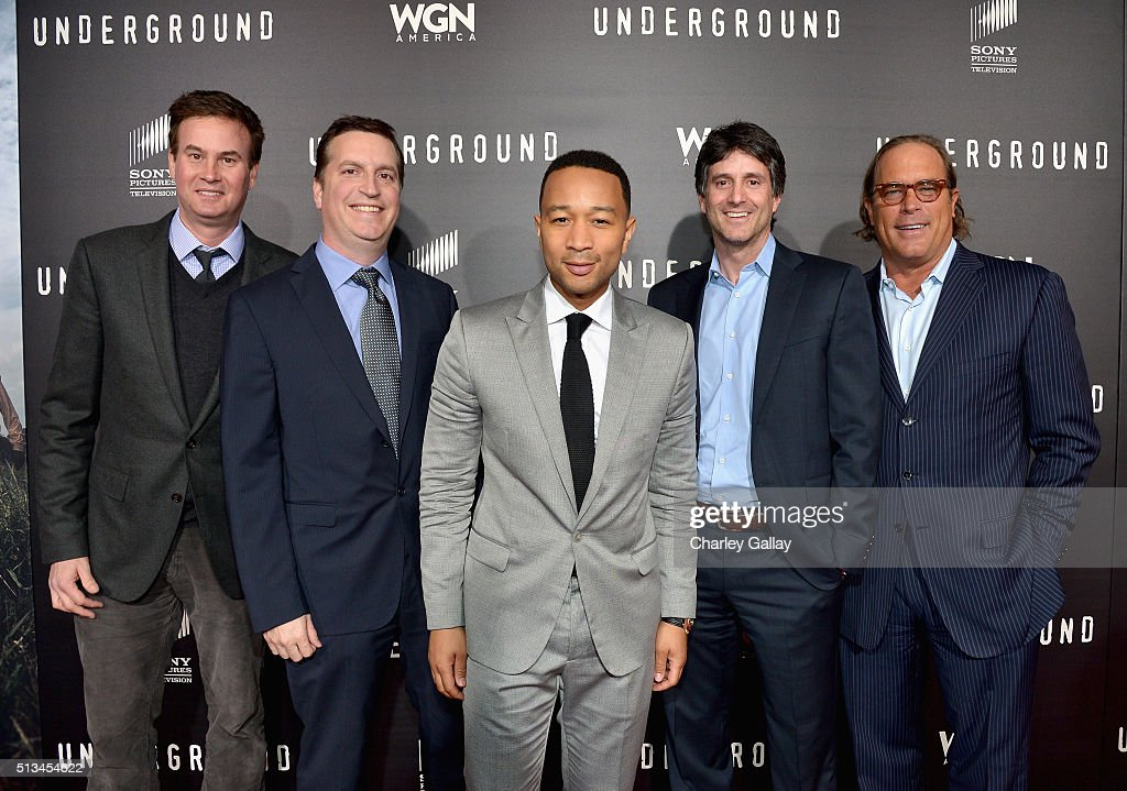 President, US Programming and Production, Sony Pictures Television, Zack Van Amburg, President and General Manager, WGN America, Matt Cherniss, Executive producer John Legend, President, US Programming and Production, Sony Pictures Television, Jamie Erlicht and Chairman, Sony Pictures Television Steve Mosko attend WGN America's 'Underground' World Premiere on March 2, 2016 in Los Angeles, California.