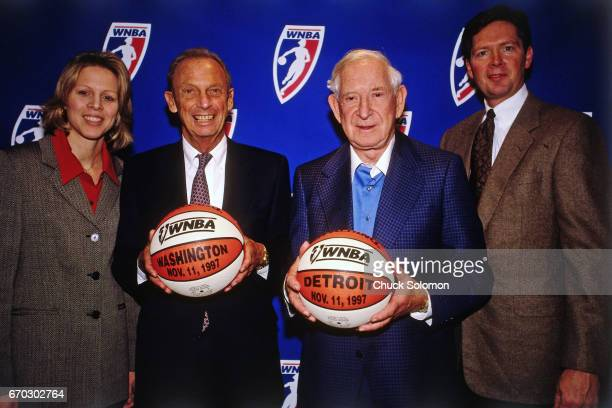 President Val Ackerman poses with Bill Davidson and Abe Pollin during a WNBA Expansion press conference on November 11 1997 in New York City The two...