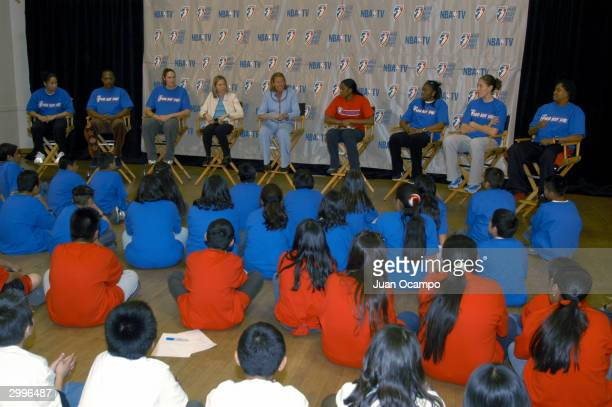 President Val Akerman and WNBA players speak to children as part of the WNBA Mind Body and Spirit program on February11 2004 at 10th Street...