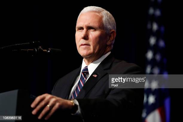US President Vice President Mike Pence speaks during a Missile Defense Review announcement on January 17 2019 at the Pentagon in Arlington Virginia...