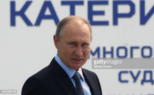 President Vladimir Putin of Russia visits the Zvezda Shipyard on September 8 2017 in Bolshoy Kamen Russia Putin's is on tour through Russia's Far East