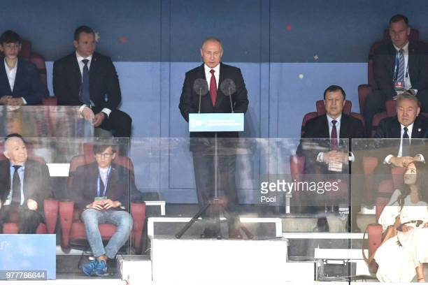 President Vladimir Putin speaks during the opening ceremony prior to the 2018 FIFA World Cup Russia Group A match between Russia and Saudi Arabia at...
