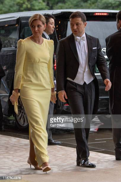 President Volodymyr Zelensky of Ukraine and his wife Olena Zelenska attend the Enthronement Ceremony Of Emperor Naruhito of Japan at the Imperial...