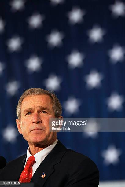 President W Bush makes remarks to a crowd at the Yeager Airport in Charleston West Virgina