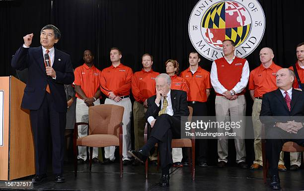 President Wallace Loh left makes remarks during a press conference to address the news that the University of Maryland will join the Big 10 college...