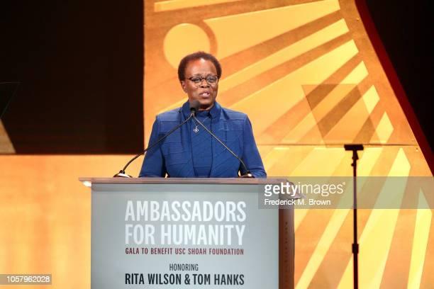 President Wanda Austin speaks onstage during the Ambassadors For Humanity Gala Benefiting USC Shoah Foundation Honoring Rita Wilson And Tom Hanks at...