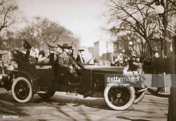 US President Warren G Harding returning from his inauguration Washington DC USA 4th March 1921 After the inauguration Harding and his wife Florence...