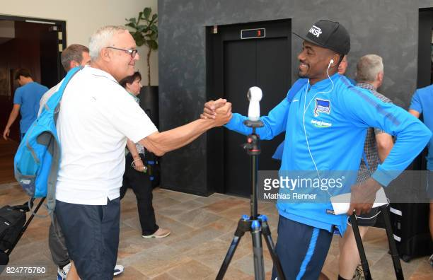 president Werner Gegenbauer and Salomon Kalou of Hertha BSC during a training camp on July 31 2017 in Schladming Austria