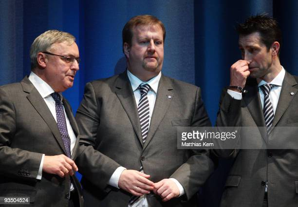 President Werner Gegenbauer, finance manager Ingo Schiller and manager Michael Preetz are seen during the Hertha BSC general meeting at the ICC on...