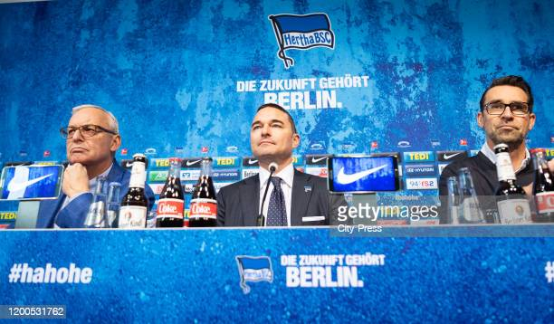 President Werner Gegenbauer Investor Lars Windhorst and Michael Preetz of Hertha BSC of Hertha BSC during the press conference on february 13 2020 in...