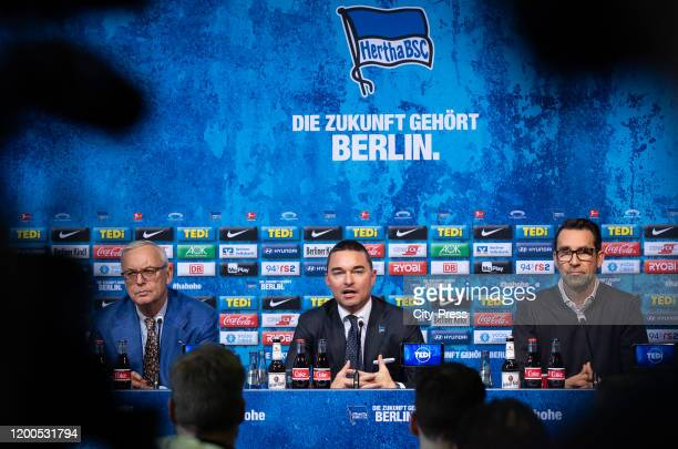 President Werner Gegenbauer of Hertha BSC Investor Lars Windhorst and Michael Preetz of Hertha BSC of Hertha BSC during the press conference on...