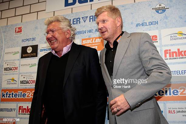President Wilfried Finke and New Manager Stefan Effenberg of SC Paderborn during the press conference at Benteler Arena on October 14 2015 in...