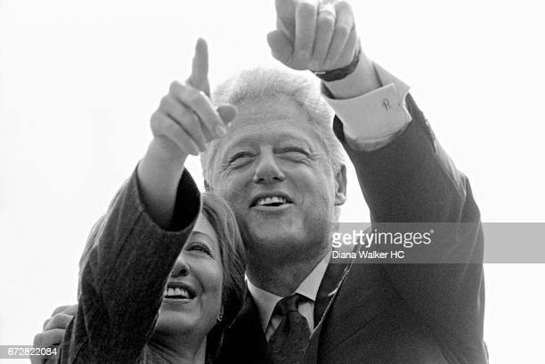 President William Clinton and First Lady Hillary Rodham Clinton appear at the Gore rally a day after giving his farewell speech to the Democrats on...
