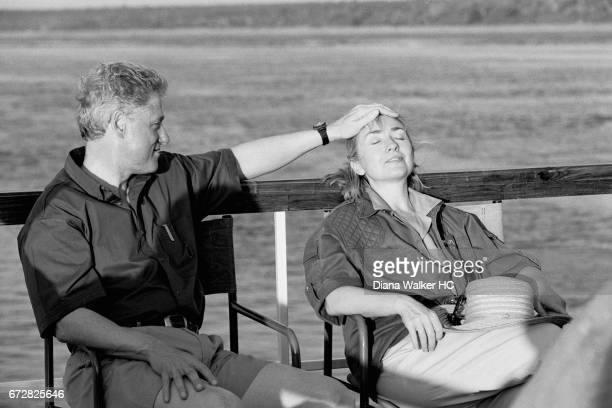 President William Clinton and First Lady Hillary Rodham Clinton on sunset river cruise on the Chobe River on March 30 1998 at the Chobe National Park...