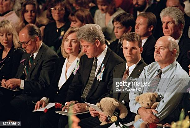 President William Clinton and First Lady Hillary Rodham Clinton attend the memorial service for the victims of the Oklahoma City bombing on April 23...