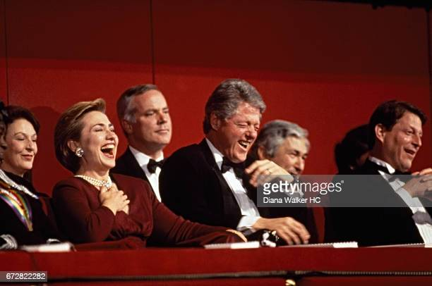 President William Clinton First Lady Hillary Rodham Clinton and Vice President Al Gore are photographed enjoying the Kennedy Center Honors gala on...