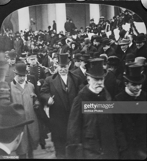 President William Howard Taft leaves the Capitol after his inauguration, Washington, DC, 4th March 1909.