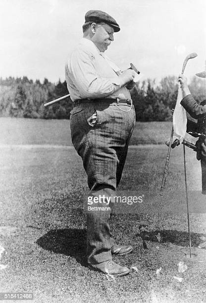 President William Howard Taft playing golf He is shown just after hitting a shot