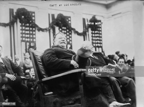 US President William Howard Taft sits with Oakland Mayor Frank K Mott during the former's campaign tour in southern California and received a hearty...