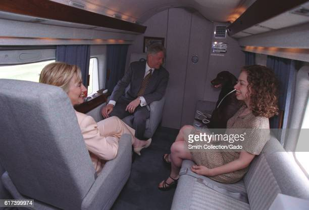 President William Jefferson Clinton First Lady Hillary Rodham Clinton daughter Chelsea Clinton and Buddy the Dog sitting in Marine One July 24 1998...