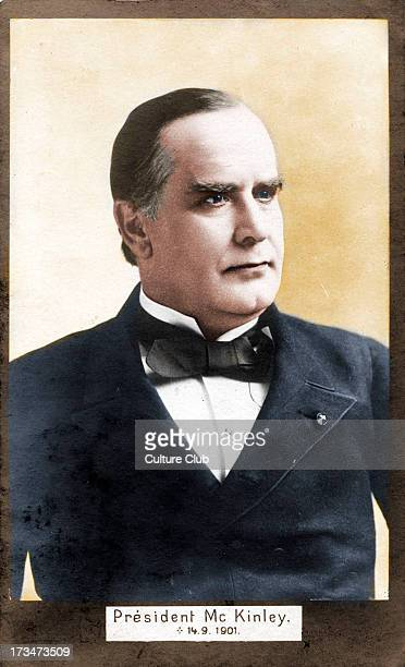 President William McKinley 25th President of the United States Commemorative postcard dated on front 1491901 the date of his assassination Colourised...