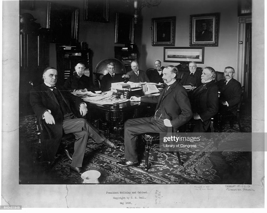 President William McKinley Seat With Members Of His Cabinet.