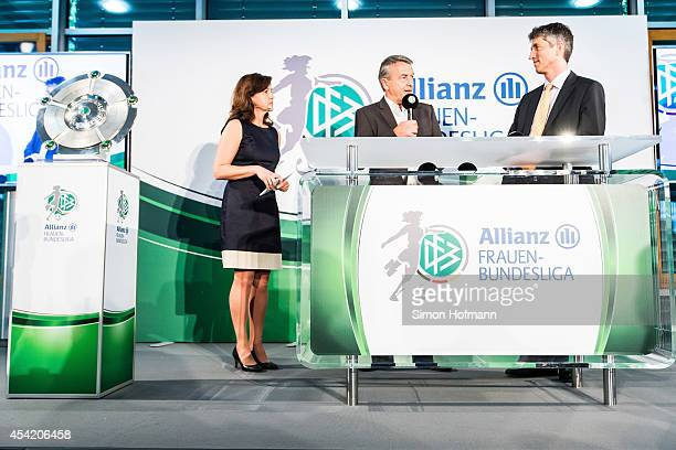 President Wolfgang Niersbach and Bernd Heinemann of Allianz attend the Allianz Women's Bundesliga Kickoff Event at DFB Headquarter on August 26 2014...