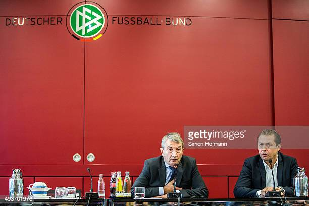 President Wolfgang Niersbach and DFB Media Director Ralf Koettker attend during a press conference to inform about FIFA World Cup 2006 Investigations...