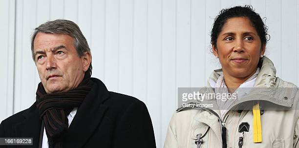 DFB president Wolfgang Niersbach and former footballer Steffi Jones look on prior to the Women's UEFA U19 Euro Qualification match between U19 Czech...