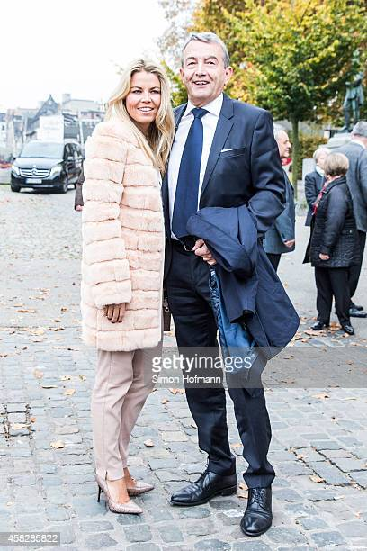President Wolfgang Niersbach and Marion Popp arrives ahead of being appointed as Honorary Senator by Wine Senate Binger Maeuseturm on November 2 2014...