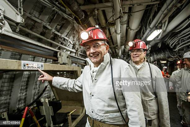 President Wolfgang Niersbach and the DFB Delegation visit the coal mine Auguste Victoria prior to the Euro2016 Qualifier match against Ireland on...