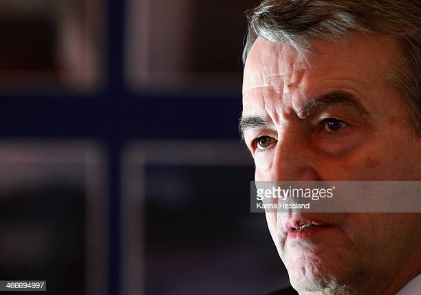 President Wolfgang Niersbach attends a media event as the DFB and League Council hand over donations to the German Flood Aid on February 3 2014 in...