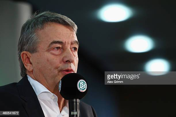 President Wolfgang Niersbach attends a press conference about the future perspectives of the German Soccer Federation at DFB Headquarter on December...