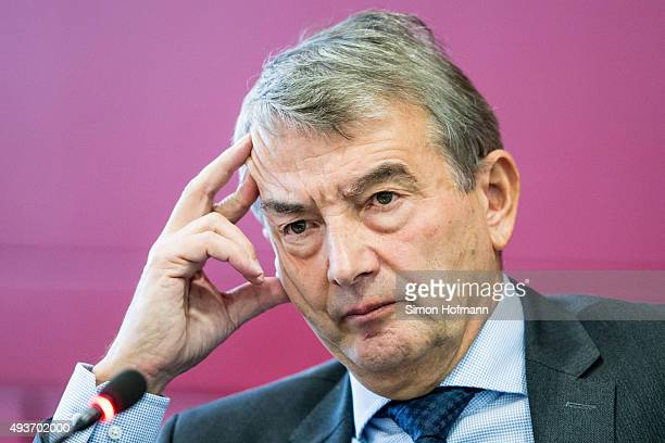 President Wolfgang Niersbach attends during a press conference to inform about FIFA World Cup 2006 Investigations at DFB Headquarter on October 22...