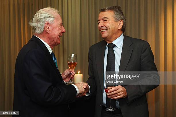 President Wolfgang Niersbach chats with former coach Dietrich Weise during a reception to celebrate Weise's 80th birthday at the restaurant Wessinger...