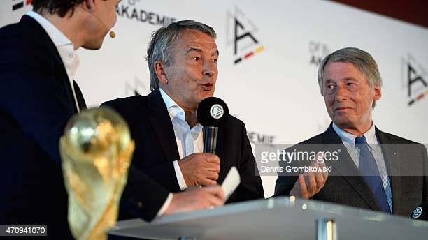 President Wolfgang Niersbach holds a speach next to Rolf Hocke during a DFB Academy Info event at DFB Headquarter on April 24 2015 in Frankfurt am...
