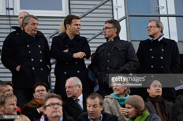 President Wolfgang Niersbach, manager Oliver Bierhoff, DFB general secretary Helmut Sandrock and DFL vice president Peter Peters attend the FIFA 2014...