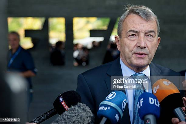 DFB president Wolfgang Niersbach speaks to journalists prior to the FIFA Executive Committee meeting press conference at the FIFA headquarters on...
