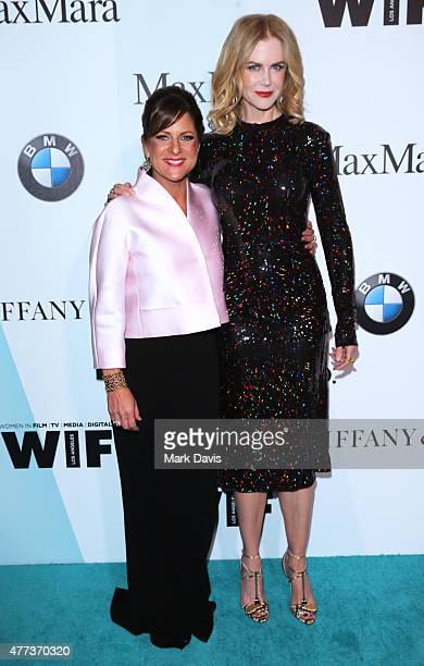 President Women In Film Cathy Schulman wearing Max Mara and honoree Nicole Kidman attend the Women In Film 2015 Crystal Lucy Awards Presented by Max...