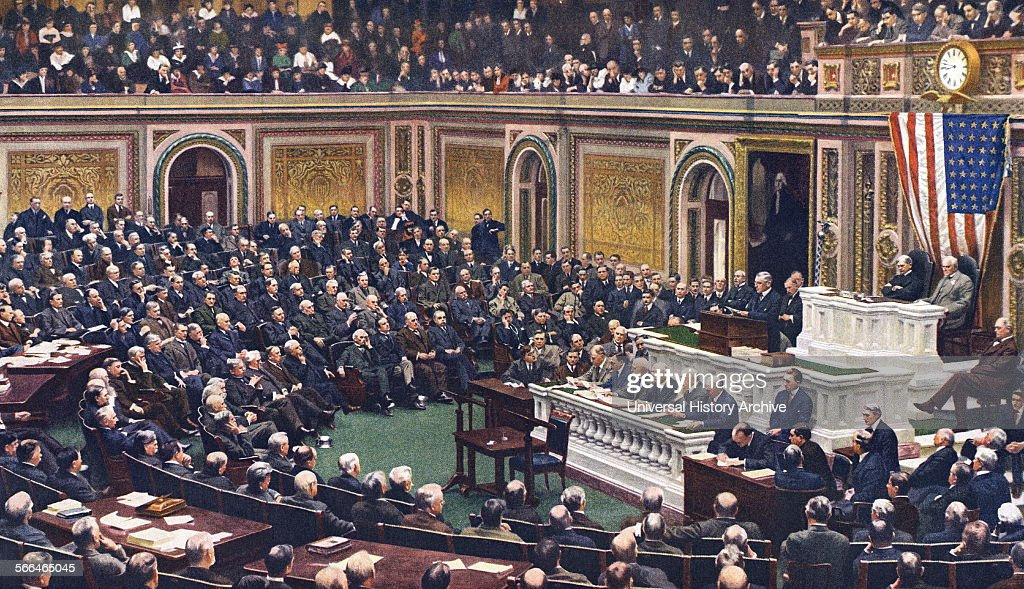 President Woodrow Wilson declaring war on Germany. : News Photo