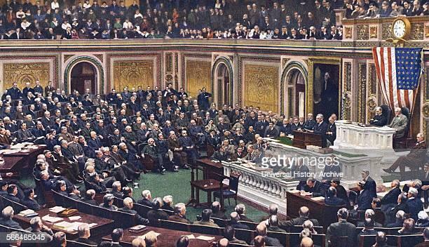 President Woodrow Wilson addresses Congress to declare war on Germany in World War One 1917.