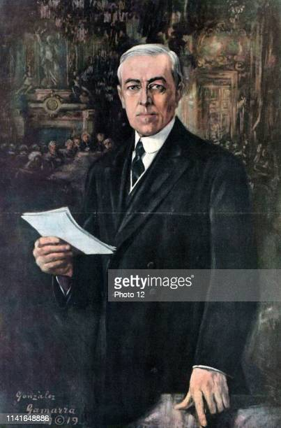 President Woodrow Wilson addressing delegates at the Versailles Peace Conference 1919. By Gonzales Gammara 1890-1972.