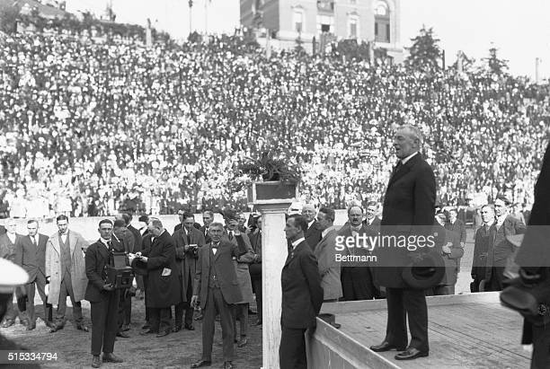 President Woodrow Wilson addressing the public at Tacoma, Washington on the League of Nations Peace Tour.