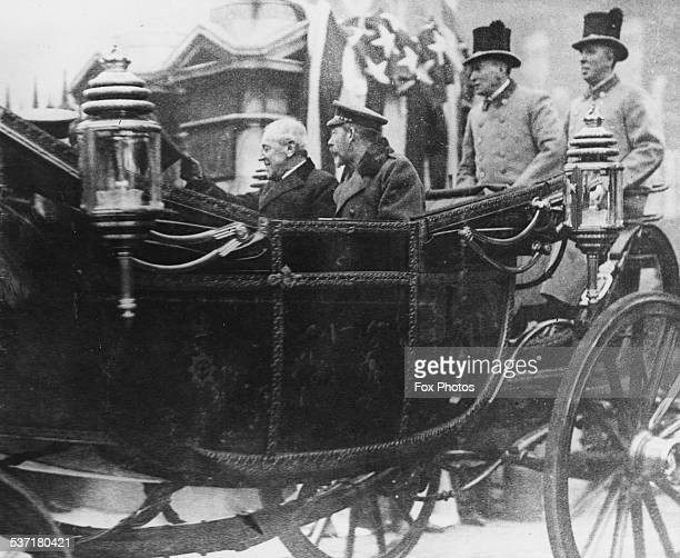 US President Woodrow Wilson and King George V leaving Buckingham Palace in a carriage London circa 1920