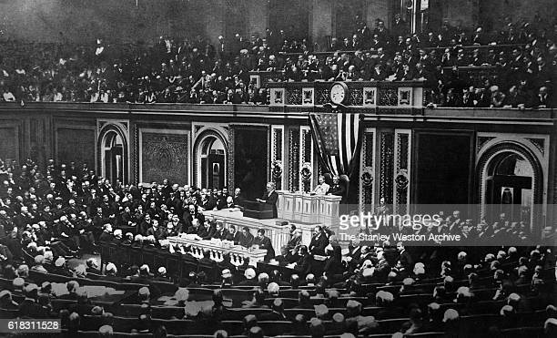President Woodrow Wilson asks Congress to send US troops into battle against Germany in World War I in his address to Congress in Washington DC on...