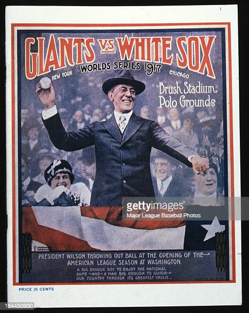 President Woodrow Wilson is shown on the front cover for the official program of the 1917 World Series between the Chicago White Sox and the New York...