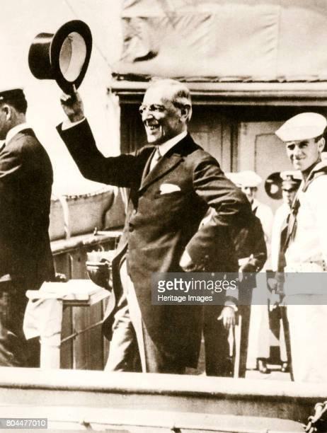 President Woodrow Wilson on the bridge of the 'George Washington', 4 December, 1919. Thomas Woodrow Wilson was the 28th President of the United...
