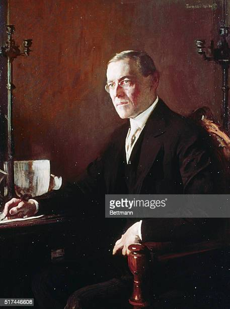 President Woodrow Wilson seated at his desk Detail from a painting by Tarbell Undated color slide