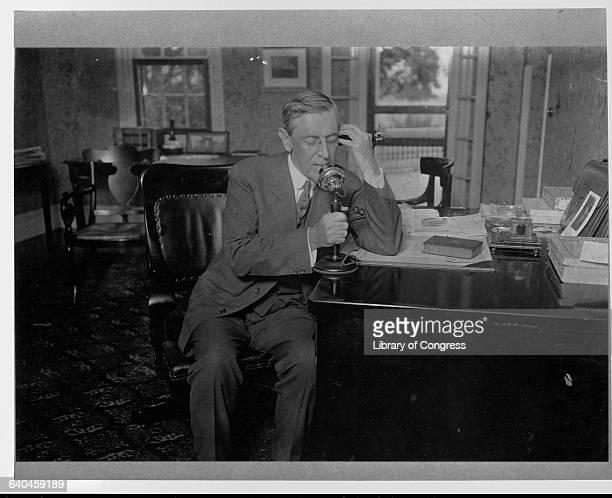 President Woodrow Wilson Speaking on Telephone