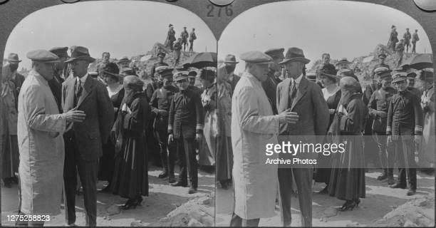 President Woodrow Wilson talking to Brand Whitlock, the US Minister to Belgium, at Nieuport, Belgium, 18th June 1919.